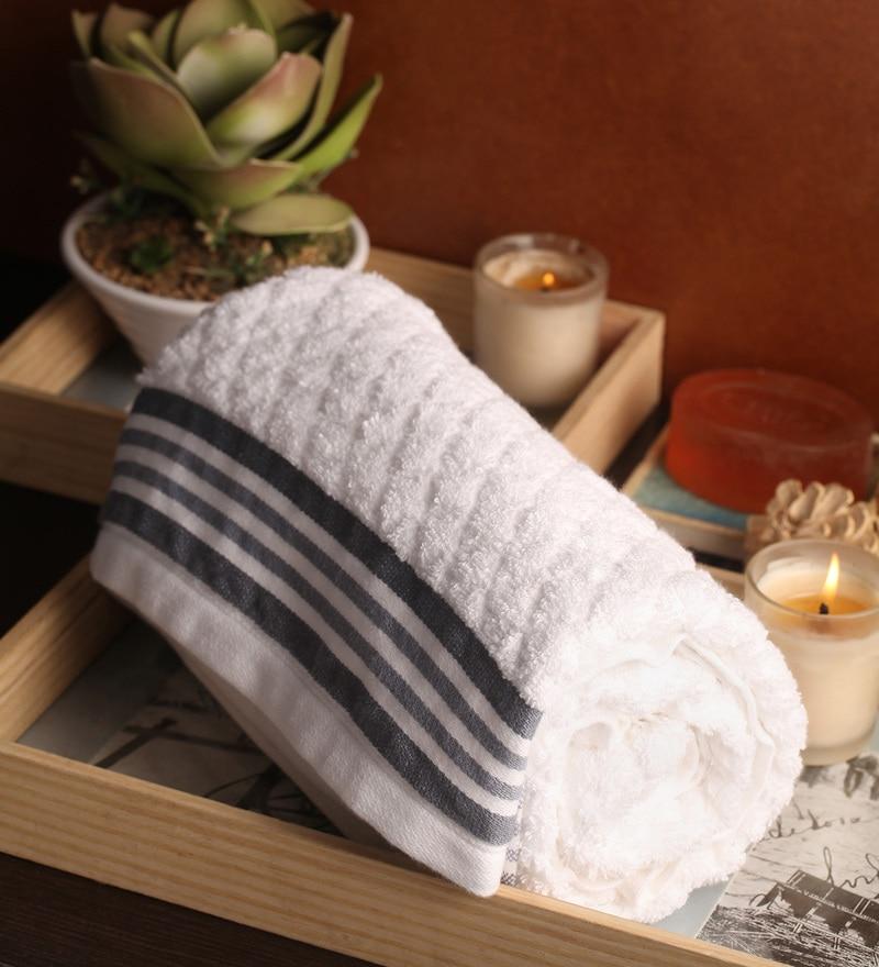 Lushomes White Cotton 27 x 55 Bath Towel