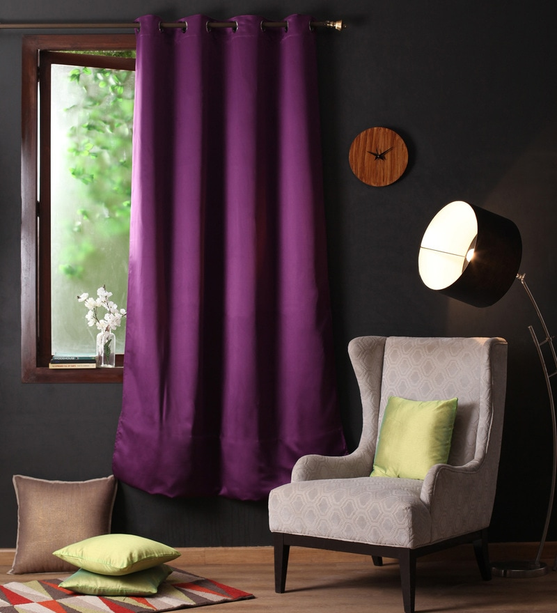 Wine Polyester 90 x 54 Inch Plain Blackout Door Curtain with 8 Metal Eyelets -1 Piece by Lushomes