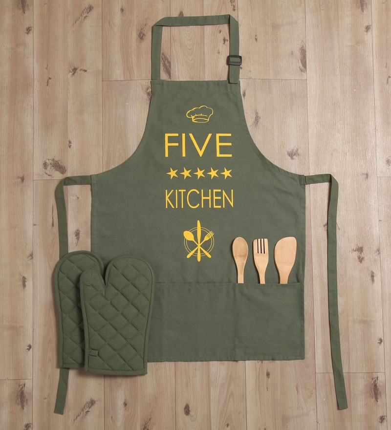 Lushomes Witty 5 Star Green Cotton Apron with 2 Oven Mittens