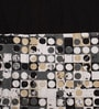 Black Cotton 60 x 54 Inch Coins Printed Windows Curtain with 8 Eyelets & Plain Tiebacks -1 Piece by Lushomes