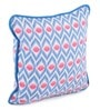 Blue Cotton 12 x 12 Inch Diamond Printed Cushion Covers with Co-Ordinating Cord Piping - Set of 2 by Lushomes