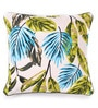 Green Cotton 16 x 16 Inch Forest Printed Cushion Covers with Co-Ordinating Cord Piping - Set of 2 by Lushomes
