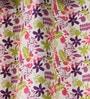 Lushomes Multicolour Cotton 60 x 54 Inch Rain Printed Windows Curtain with 8 Eyelets & Plain Tiebacks  -1 Piece