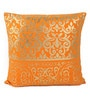 Lushomes Orange Cotton 16 x 16 Inch Cushion Covers with Gold Foil Print - Set of 2