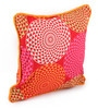 Red Cotton 12 x 12 Inch Spiral Printed Cushion Covers with Co-Ordinating Cord Piping - Set of 2 by Lushomes