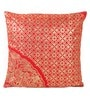 Red Cotton 16 x 16 Inch Cushion Covers with Gold Foil Print - Set of 2 by Lushomes