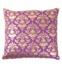 Lushomes Violet Cotton 16 x 16 Inch Cushion Covers with Gold Foil Print - Set of 2