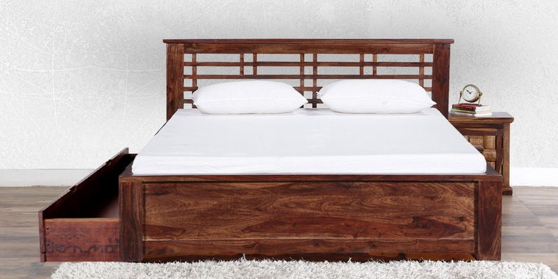 Lynden Slatted King Bed with Storage in Provincial Teak Finish by Woodsworth