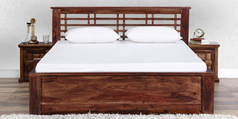 Lynden Slatted Queen Bed in Provincial Teak Finish by Woodsworth