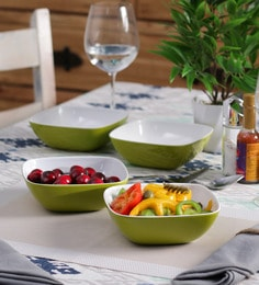 Machi Arena Green Melamine 600 ML Snack Bowl - Set Of 4