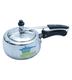 Madhu Aluminium Flora White 2 Litres Pressure Cooker With Inner Lid