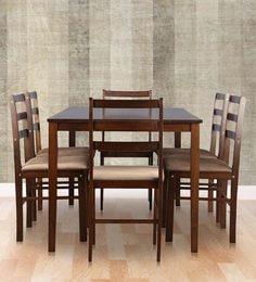 Magix Six Seater Dining Set In Dark Walnut Finish