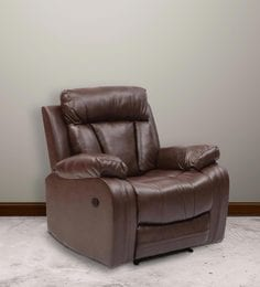 Magna One Seater Manual Recliner Sofa In Dark Brown Leatherette