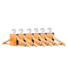 Magna Wooden Finish Plastic Heavy Duty Cloth Hangers - Set Of 36