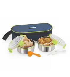 Magnus Lunch Box With Clip Lock & Bag Blue Steel Stainless Steel & Plastic - Set Of 5