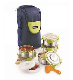 Magnus Lunch Box With Clip Lock & Bag Blue Steel Stainless Steel & Plastic - Set Of 8
