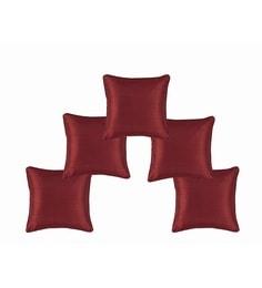 Maroon Dupion Silk 12 X 12 Inch Cushion Covers - Set Of 5