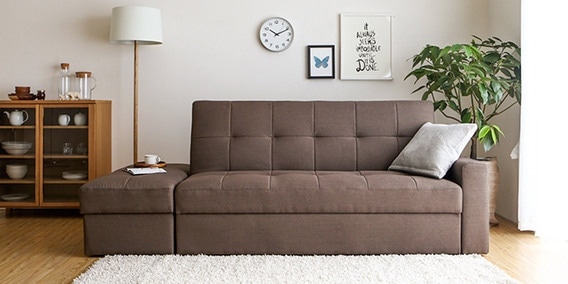 Maceio Storage Sofa Bed With Ottoman In Brown Colour