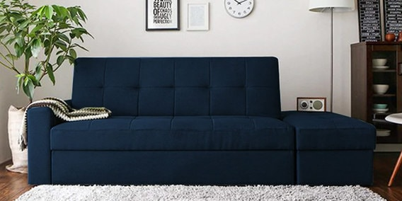 Maceio Storage Sofa Bed With Ottoman In Blue Colour