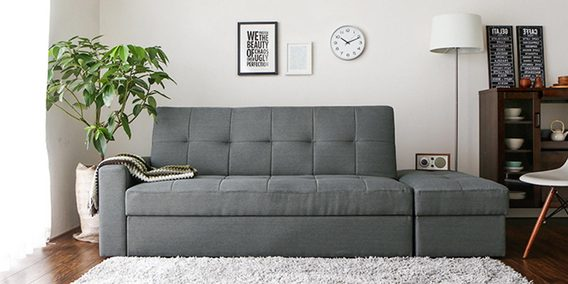 Maceio Storage Sofa Bed With Ottoman In Grey Colour