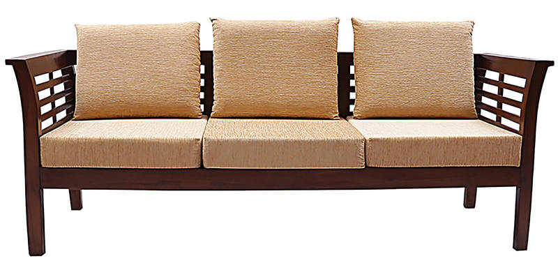 Buy Mariana Teak Wood Sofa Set 3 Seater 1 Seater 1 Seater In Fresh Walnut Finish By