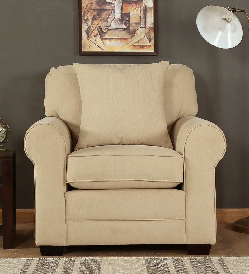 Madeira One Seater Sofa in Beige Colour by CasaCraft
