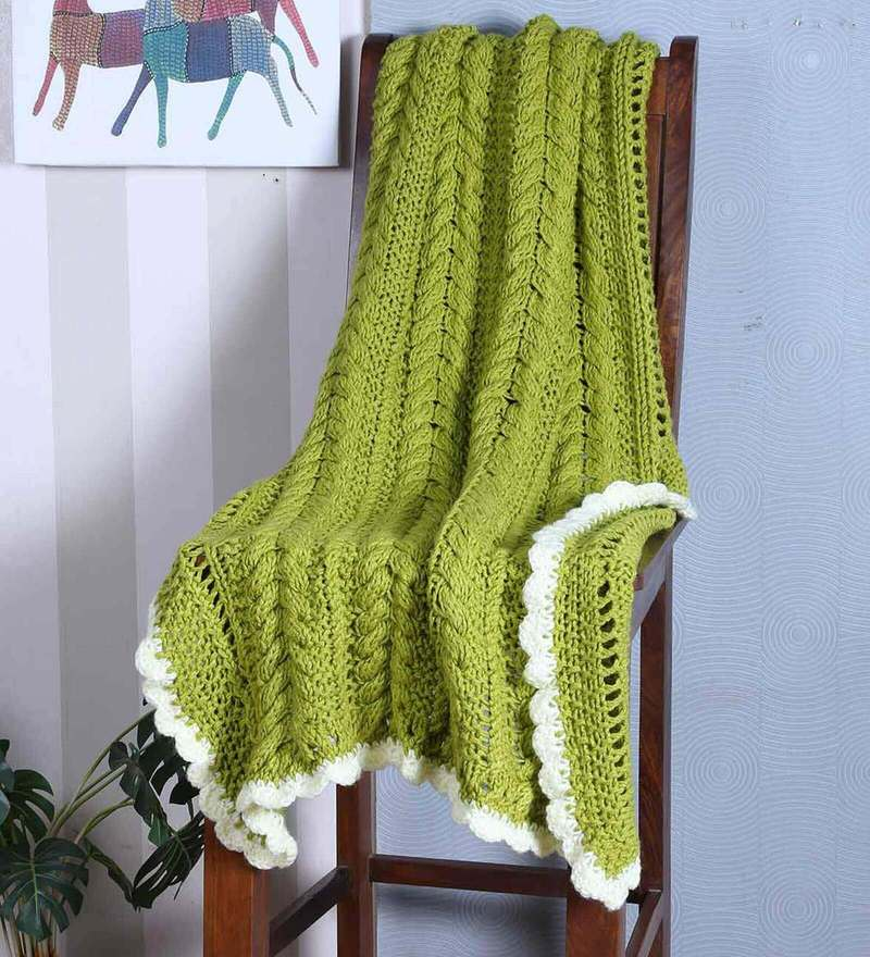 Exclusive Cable Bordered Blanket in Olive Green Colour by Magic Needles
