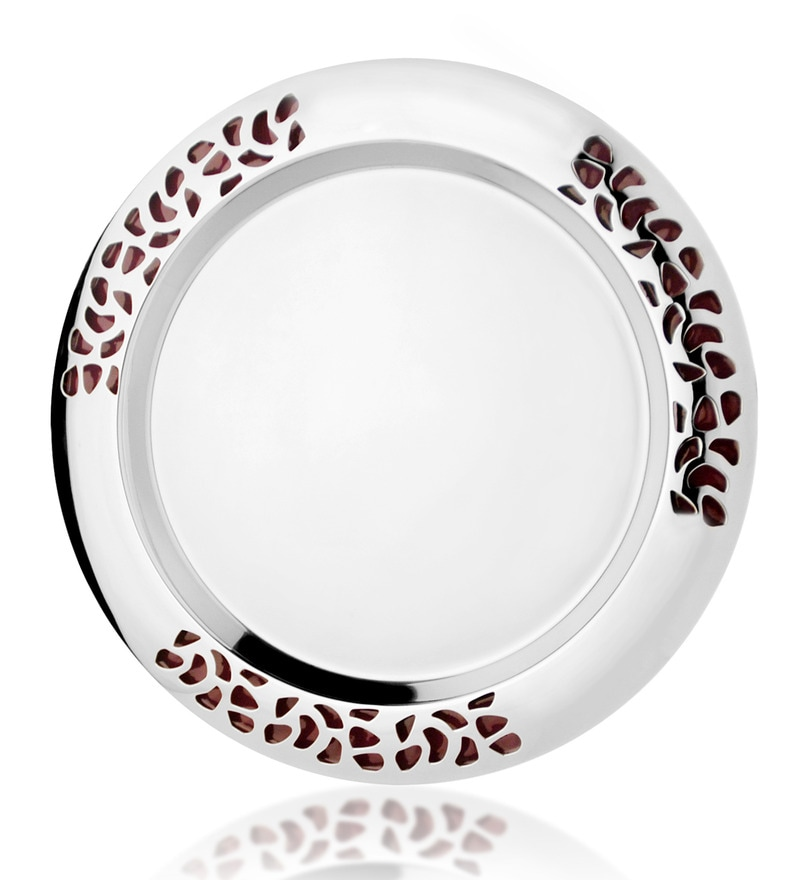 Magppie Aura Silver and Purple Stainless Steel Round Serving Tray