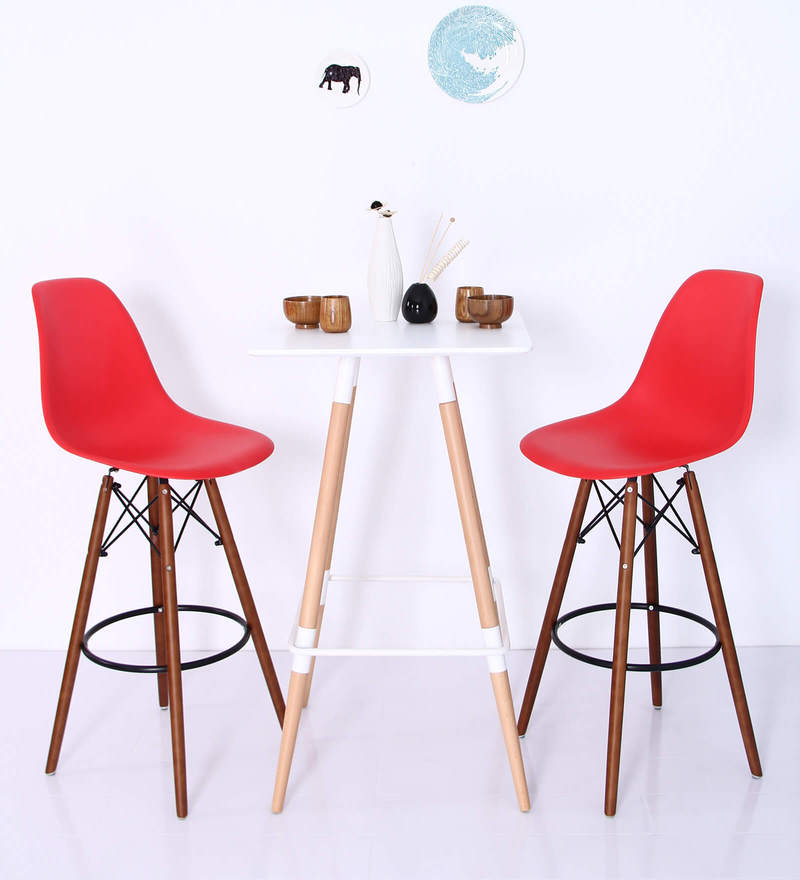 Makoto Bar Chair (Set of 2) in Red Colour by Mintwud