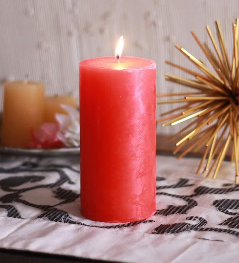 Mandarin Cranberry Scented Pillar Candles by Aroma India