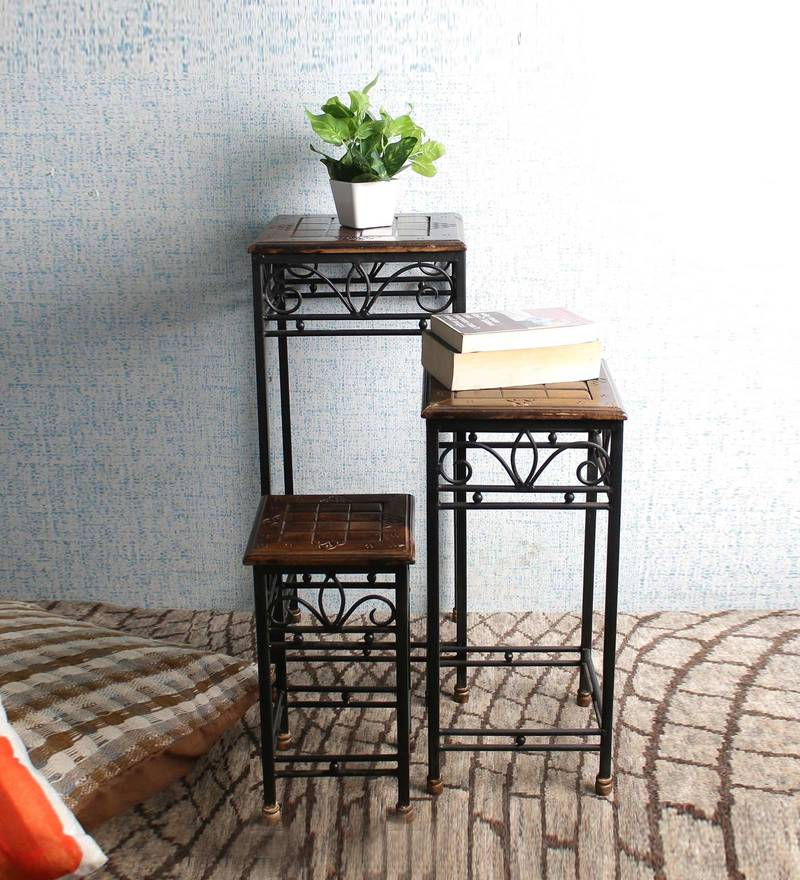 Mango Wood and Wrought Iron Nesting Tables (Set of 3) in Black & Antique Brown Finish by VarEesha