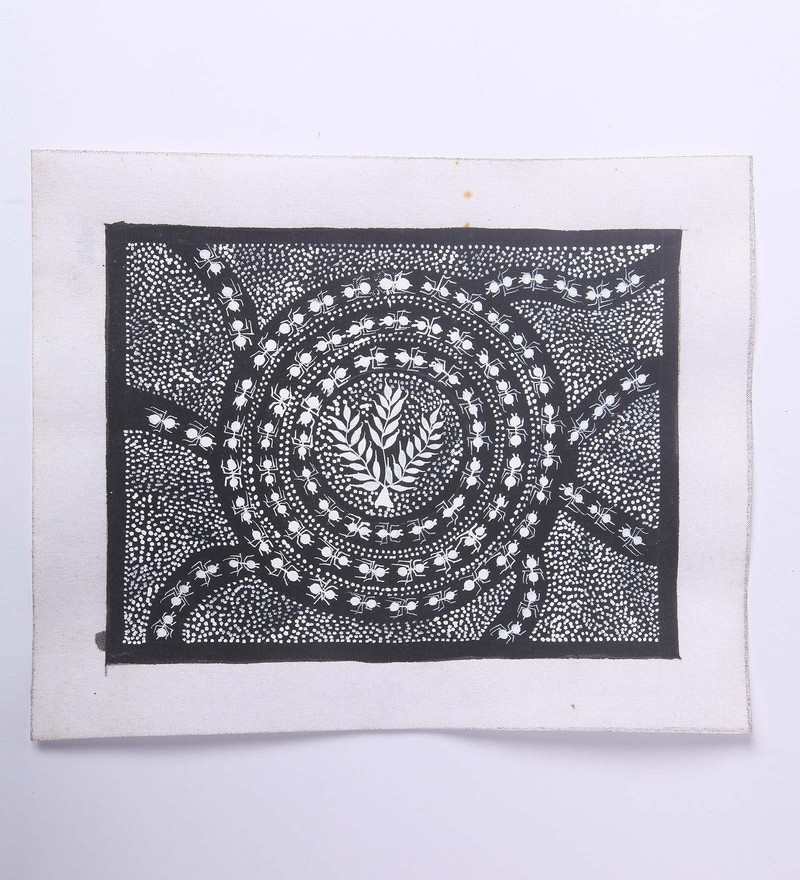 Black Canvas Unframed Warli Painting by Manomay Kreations
