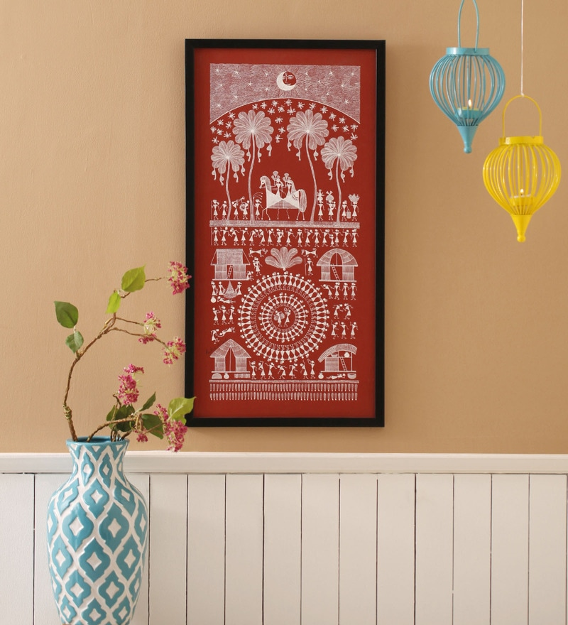 Canvas 12 x 2 x 24 Inch Bride Groom Procession Framed Warli Painting by Manomay Kreations