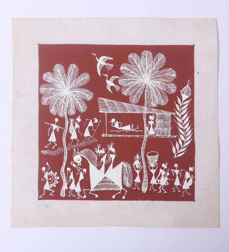Red Canvas Unframed Warli Painting by Manomay Kreations