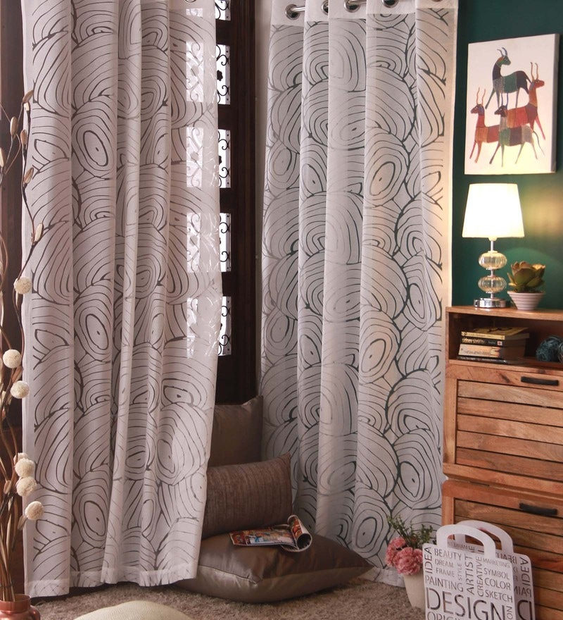 White Cotton and Polyester Curtain by Marigold
