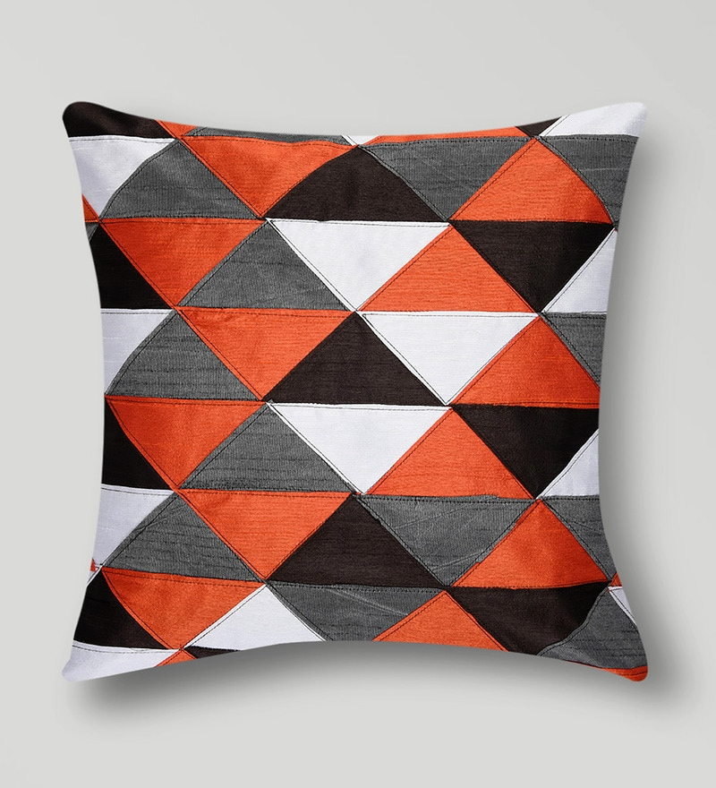 Multicolor Duppioni 16 x 16 Inch Geometric Patchwork Cushion Cover by Mapa Home Care