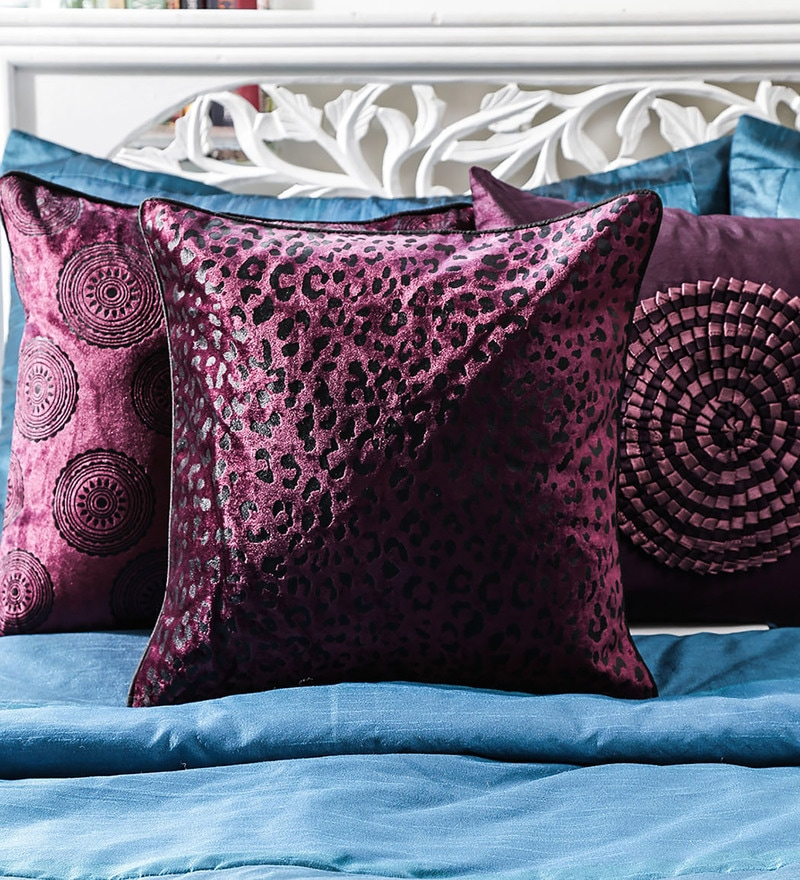 Purple Duppioni 16 x 16 Inch Spotted Cushion Cover by Mapa Home Care
