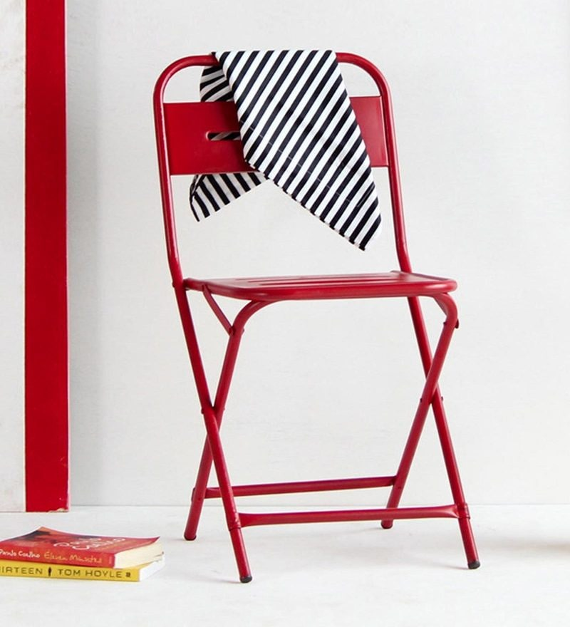 Marandoo Grunge Red Outdoor Folding Chair by Bohemiana