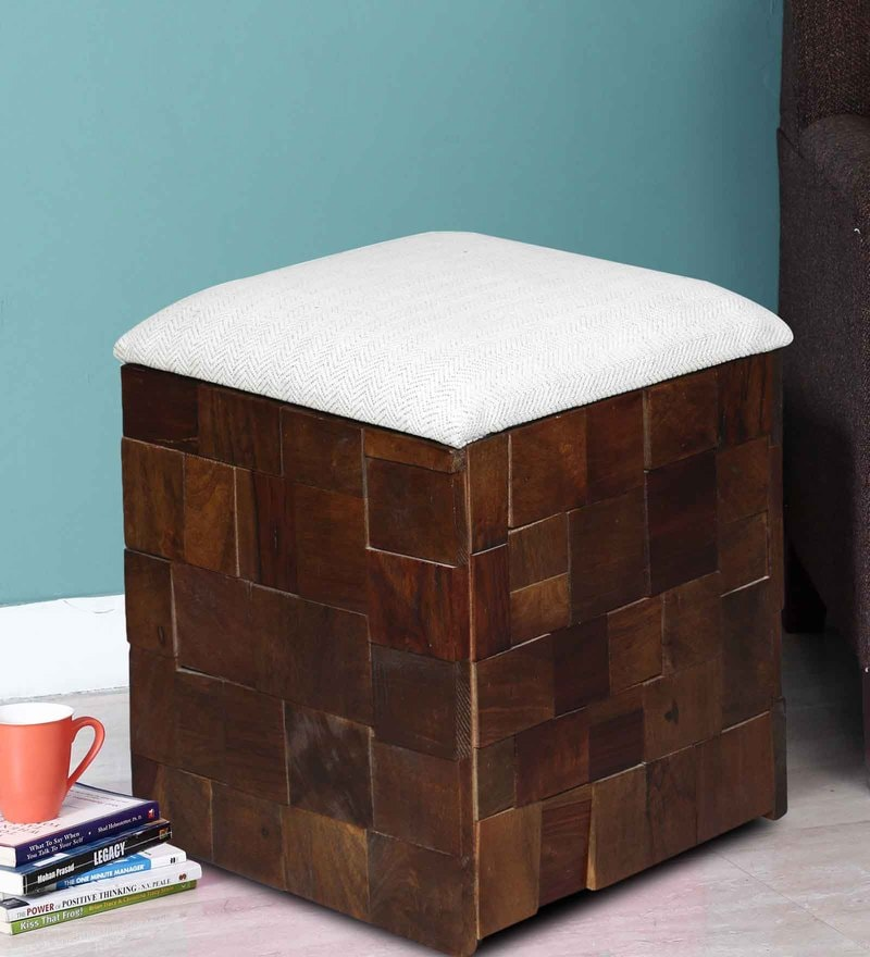 Marbella White Fabric Storage Pouffe in Provincial Teak Finish by Woodsworth