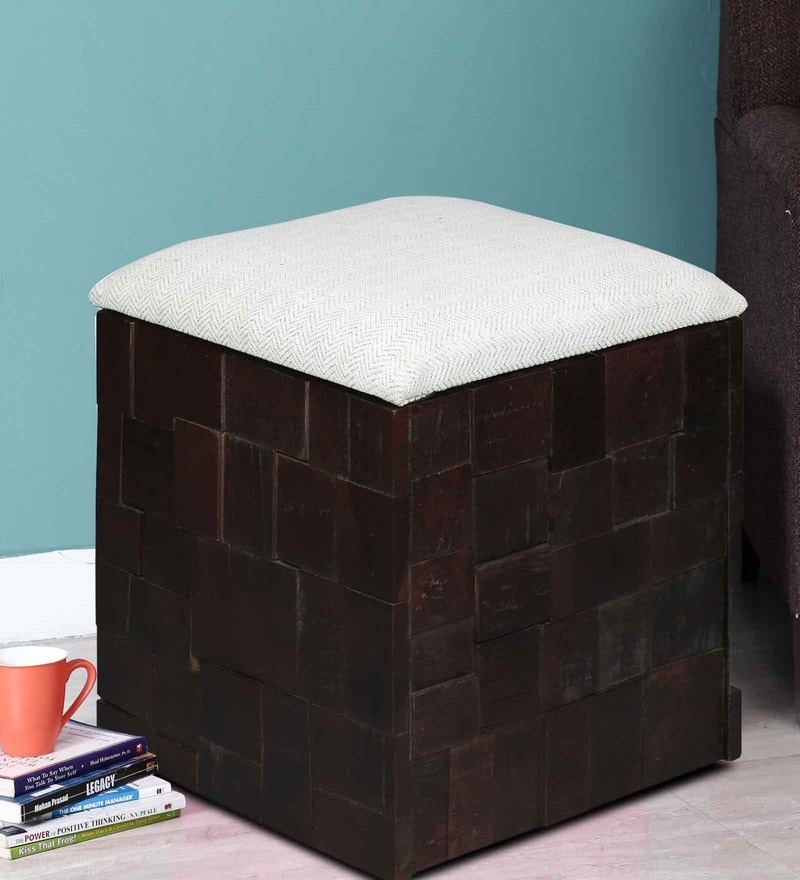 Marbella White Fabric Storage Pouffe in Warm Chestnut Finish by Woodsworth