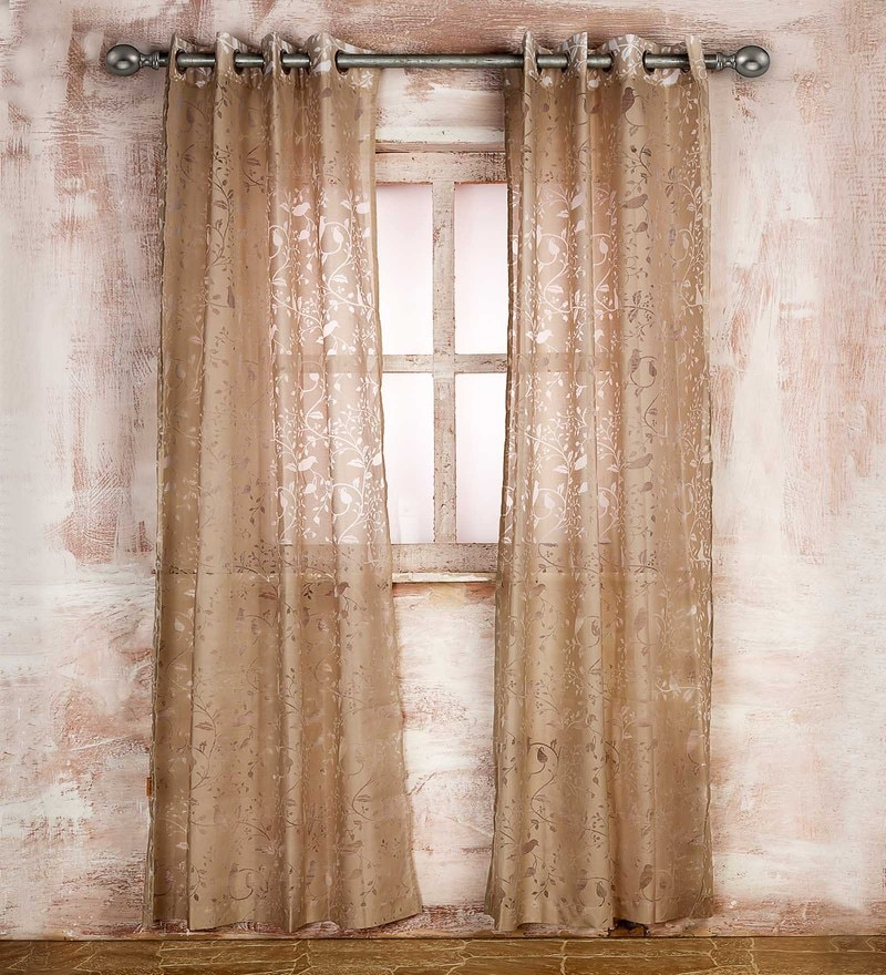 Beige Poly Cotton 84 x 43 Inch Floral Brasso Print Door Curtain by Marigold