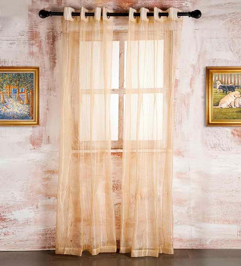 90 x 48 Inch Beige Polyester Door Curtain - Set of 2 by Marigold