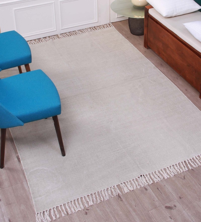 Brown Cotton 55 x 79 Inch Stonewashed Dhurrie by Marigold