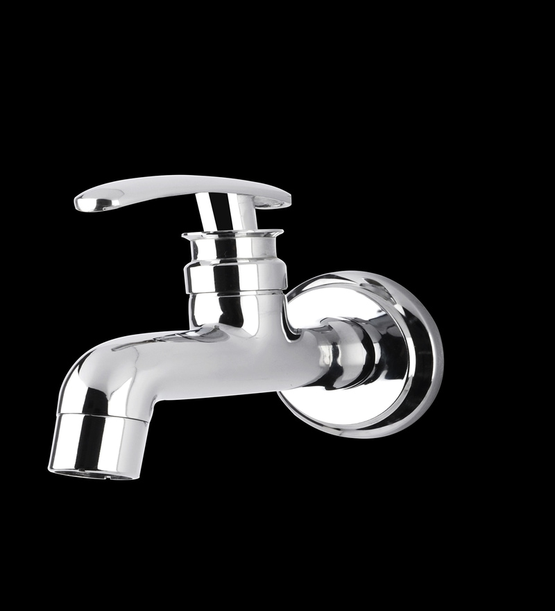 Marine Slim Silver Brass Long Body Bib Cock Faucets - Set of 2