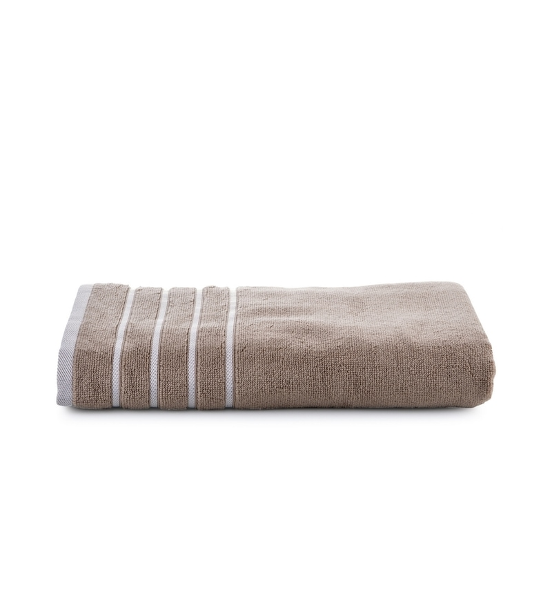 Beige Cotton Simply Soft 28 x 59 Bath Towel by Mark Home