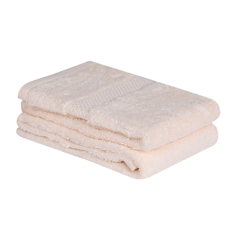 Ivory Cotton Hand Towel Premium Set of 2 by Mark Home