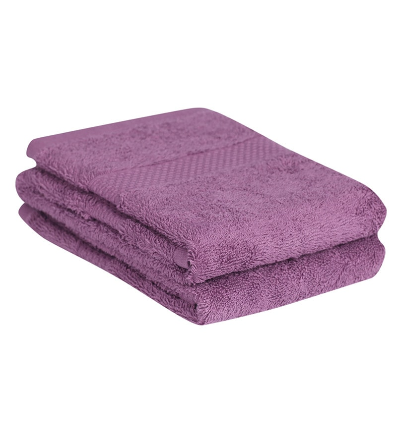Purple Cotton Hand Towel Premium Set of 2 by Mark Home