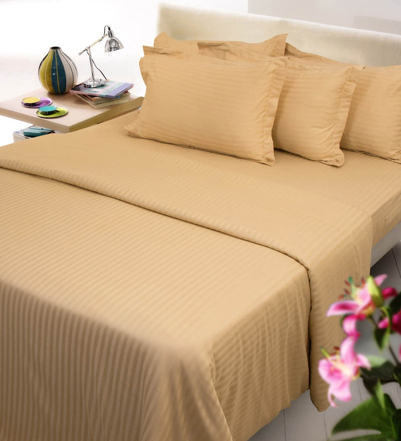 Gold Solids Cotton King Size Fitted Bed Sheet Set - Set of 3 by Mark Home