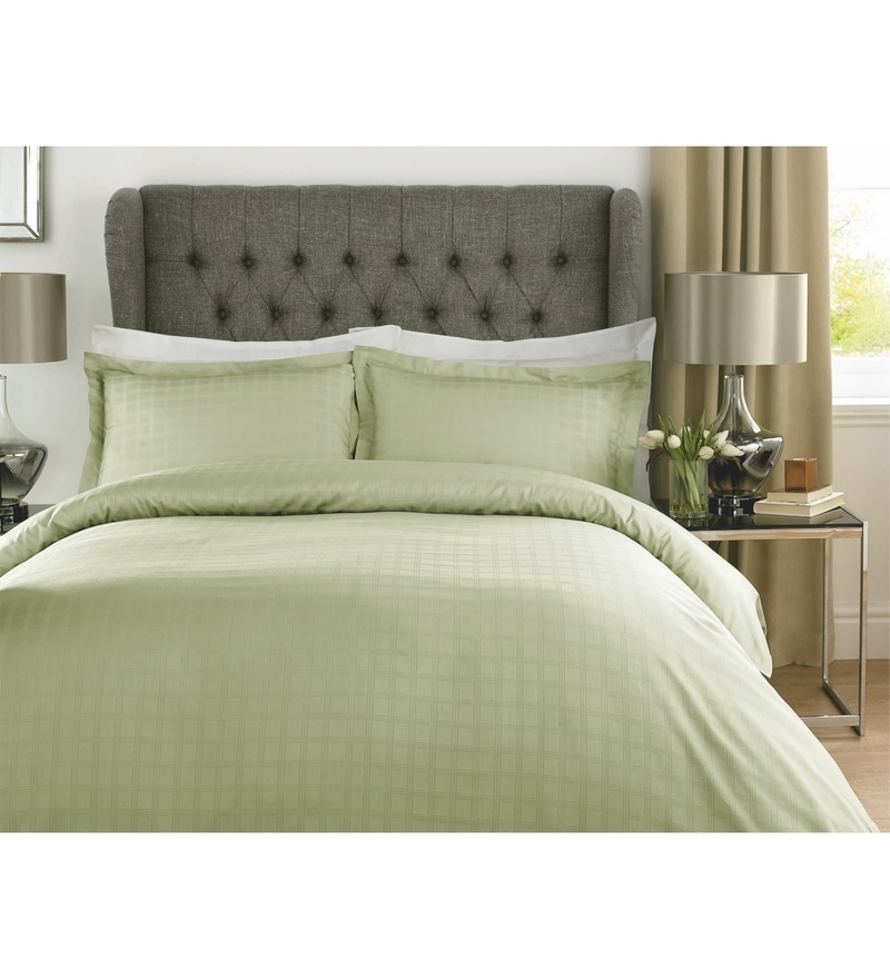 Green Checks Cotton King Size Bed Sheet - Set of 3 by Mark Home