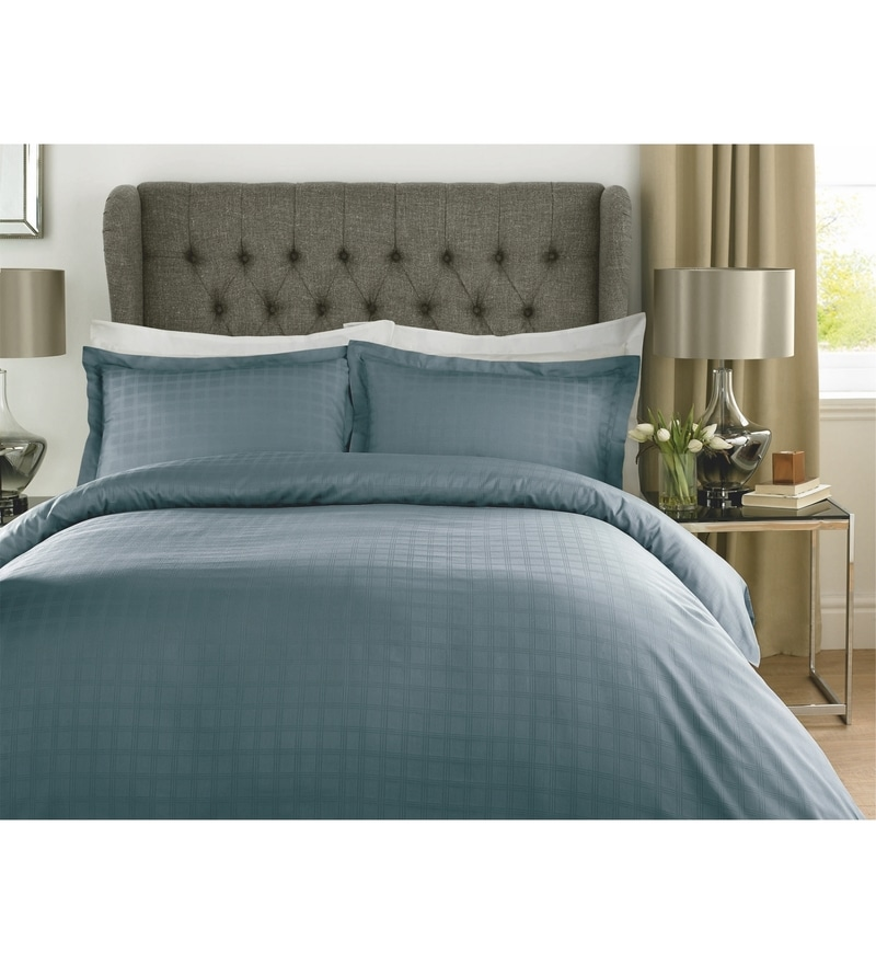 Blue Checks Cotton King Size Bed Sheet - Set of 3 by Mark Home